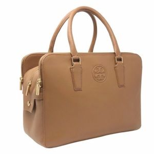 Tory Burch Pebbled Leather Marion Triple Zip Tote